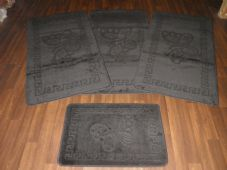 Plain Oblong Non Slip Washable Romany Traveller/Gypsy Mat Set 4Pc Butterfly Black All Colours Available